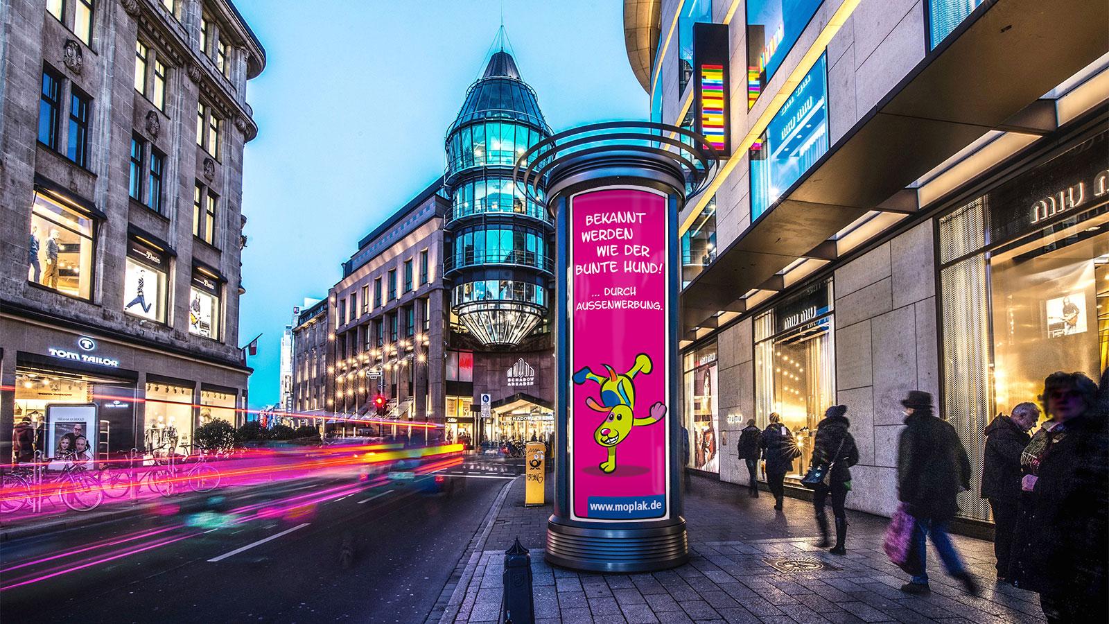 Duesseldorf-Aussenwerbung-Litfasssaeule-Werbung